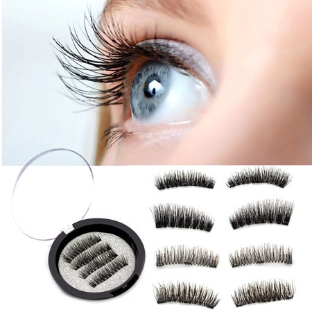 Eyelash 3D Three Magnetic Glue Long Fake Eyelash Extension Handmade False Eyelashes Curly 4Pcs - Feather Fake Eyelashes