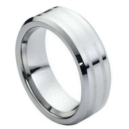 TK Rings 111TR-8mmx8.5 8 mm High Polish Two Lines Laser Engraved Center Tungsten Ring - Size 8.5