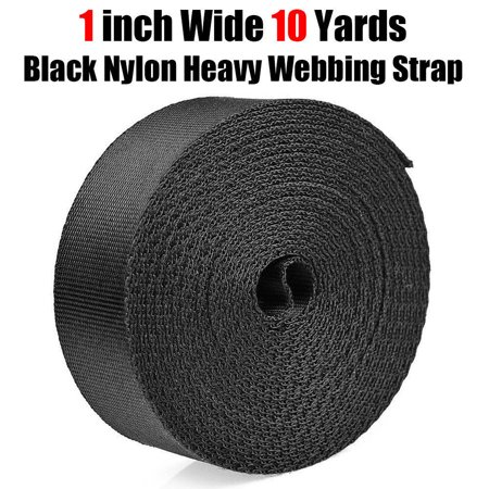 1 Inch Wide 10 Yards Black Nylon Heavy Webbing Strap Fit for: School Bags Backpack Package