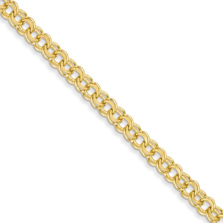 14K Yellow Gold 7in 5.5mm Solid Double Link Charm Bracelet -7
