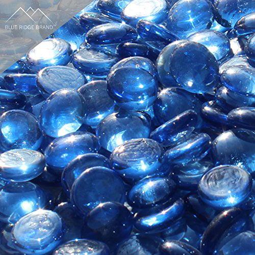 "Fire Pit Glass - Light Blue Reflective Fire Glass Beads 3/4"" - Reflective Fire Pit Glass Rocks - Blue Ridge Brand™ Reflective Glass Beads for Fireplace and Landscaping 3, 5, 10, 20, 50 Pounds"