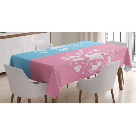 Gender Reveal Decorations Tablecloth, Cute Icons Girls Boys Baby Shower Stylized Toys Pattern, Rectangular Table Cover for Dining Room Kitchen, 60 X 90 Inches, Sky Blue Light Pink, by Ambesonne](Pink And Blue Table Decorations)