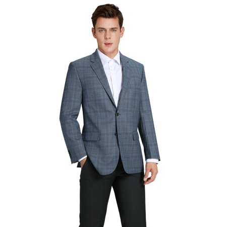 Verno Men's Premium Wool Classic Fit Sport Coat Suit Jacket Plaid Blazer Mens Navy Pinstripe Wool Suit