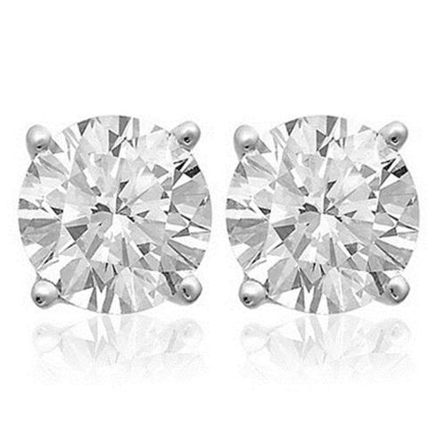 BEST SILVER WT2CT 2 Carat White Topaz Sterling Silver Stud Earrings