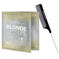 Joico Blonde Life Lightening Powder, 9 + Levels Lift (w/Sleek Steel Pin Rat Tail Comb) On/Off Scalp, Hair Lightener Bleach (1.5 oz - packette size)