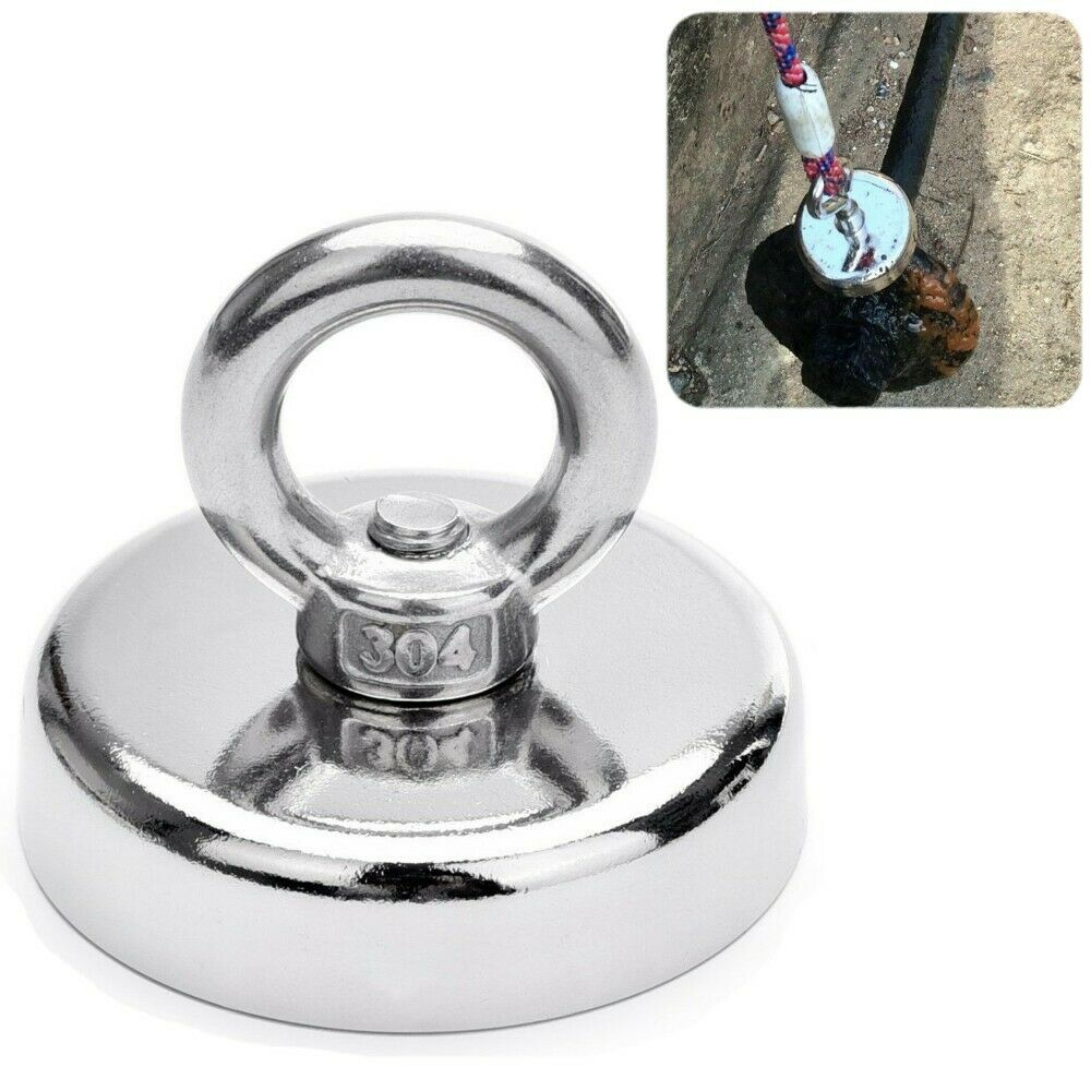 US 150 LBS FISHING MAGNET Super Strong Pull Force Neodymium Round Eye bolt