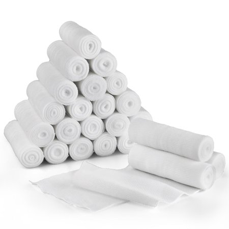 Gauze Bandage Roll, 24 Pack, 4 Inch x 4 Yards Stretched, Sterile Gauze Wrap, Medical Wound Care Supplies for First Aid