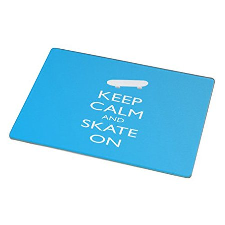 Rikki Knight Rk Lgcb 709 Keep Calm And Skate On Glass Cutting Board  Large  Sky Blue
