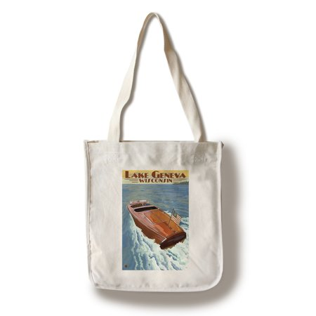 - Lake Geneva, Wisconsin - Chris Craft Wooden Boat - Lantern Press Artwork (100% Cotton Tote Bag - Reusable)