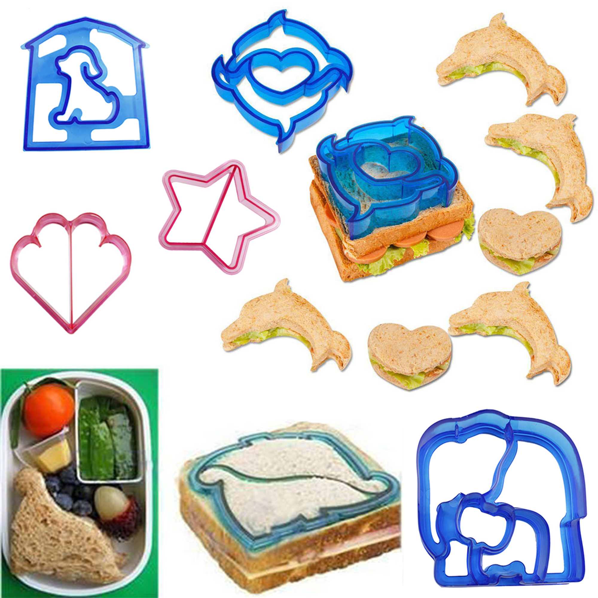 CUH Kids Sandwich Cookie Cutter Toast Mould Dolphin Butterfly Dinosaur Molds Lunch