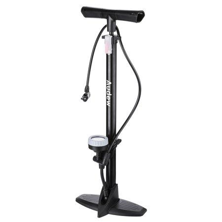 Audew Floor Bike Pump with Gauge - Steel Manufacturing Ergonomic Household Bicycle Tire Pump - 230Psi Reversible Presta and Schrader Dual Valves – Including Puncture Repair (Best Bike Pumps For Presta Valves)