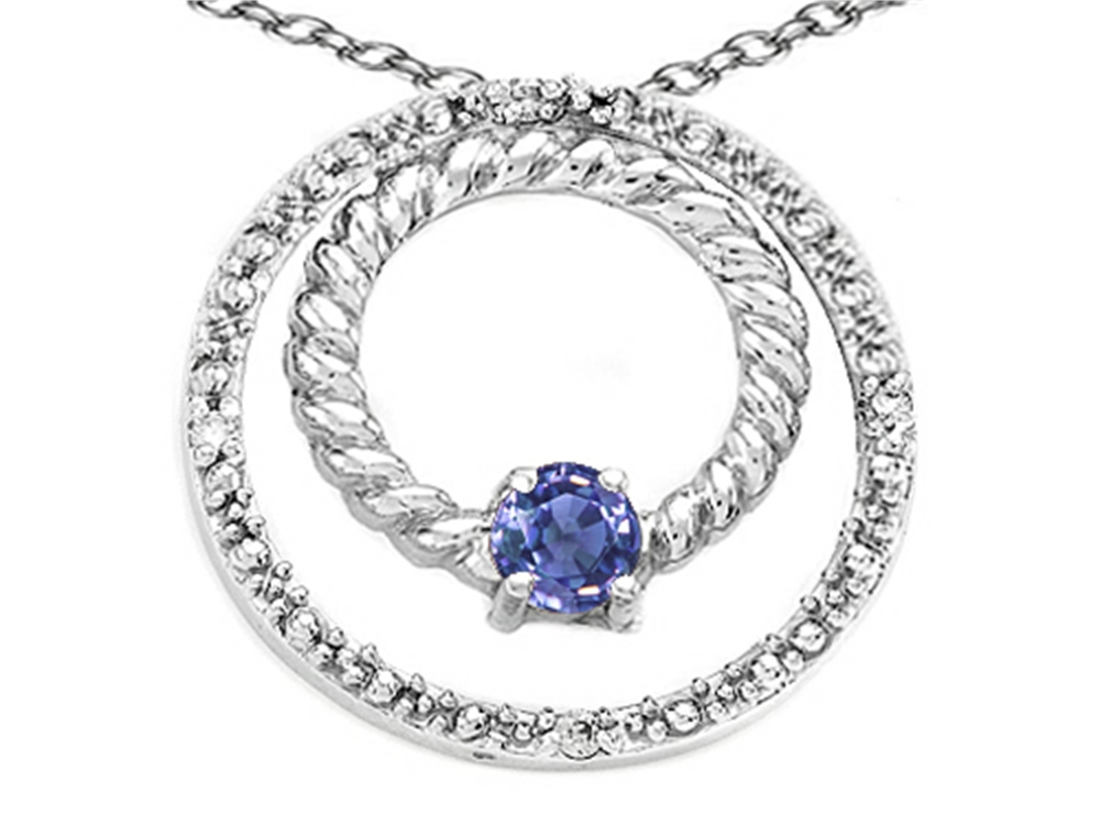 Tommaso Design Round 3mm Genuine Tanzanite Circle Pendant Necklace in 10 kt White Gold by