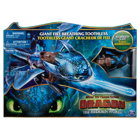 DreamWorks Dragons, Giant Fire Breathing Toothless, 20-inch Dragon with Fire Breathing Effects and Bioluminescent Color, for Kids Aged 4 and