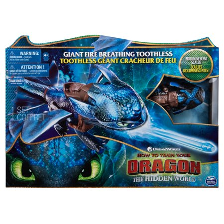 DreamWorks Dragons, Giant Fire Breathing Toothless, 20-inch Dragon with Fire Breathing Effects and Bioluminescent Color, for Kids Aged 4 and Up