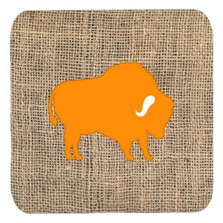 Buffalo Burlap And Orange Foam Coasters - Set 4, 3.5 x 3.5 In. - image 1 de 1