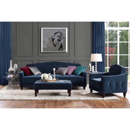 Novogratz Vintage Tufted 3 Piece Living Room Set Multiple