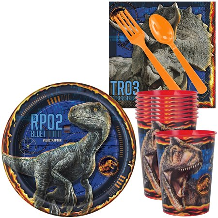 Jurassic World: Fallen Kingdom Standard Tableware Kit With Plastic Favor Cups (Serves 8)