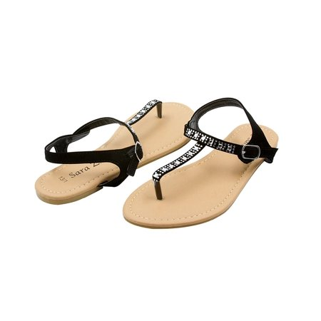 Rhinestone Slingback - Sara Z Girls Flat Thong Slingback Sandals with Rhinestones Size 4/5