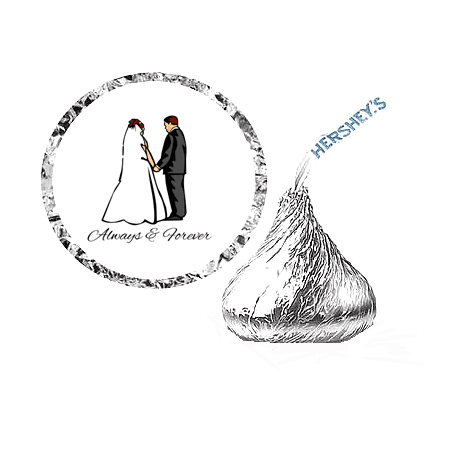216 Wedding Bride and Groom Party Favor Hershey's Kisses Stickers / Labels ()