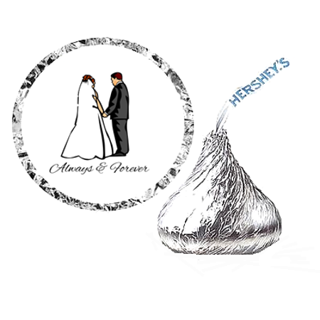 216 Wedding Bride and Groom Party Favor Hershey's Kisses Stickers / Labels