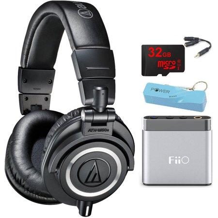 Audio-Technica ATH-M50X Professional Studio Headphones (Black) Portable Headphone Amp Bundle includes Headphones, Amplifier, Keychain Power Bank, Bag, Splitter and 32GB MicroSD High-Speed Memory Card
