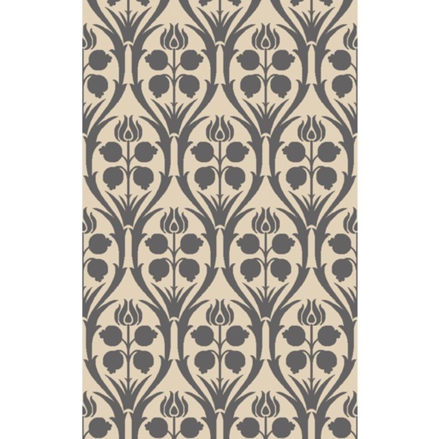 4' x 6' Preciosa Ivory, Charcoal and Dove Gray Hand Hooked Wool Area Throw Rug