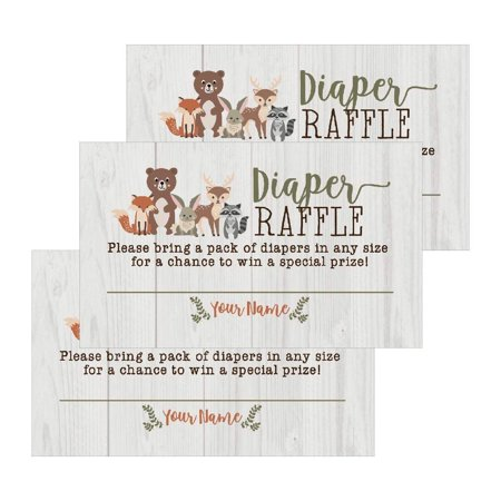 25 Woodland Animals Diaper Raffle Ticket Lottery Insert Cards For Girl or Boy Baby Shower Invitations, Supplies and Games For Gender Reveal Party Bring a Pack of Diapers to Win Favors Gifts and Prizes - Baby Boy Favors Ideas