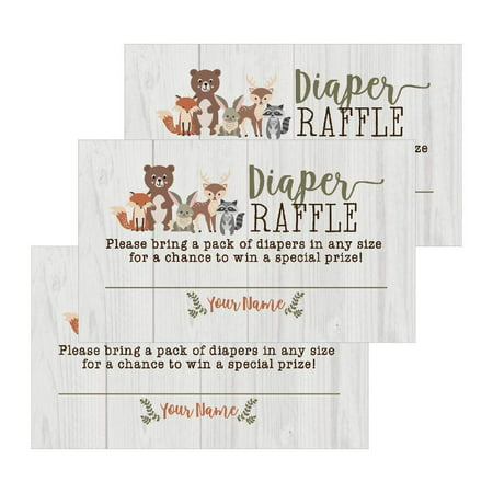 25 Woodland Animals Diaper Raffle Ticket Lottery Insert Cards For Girl or Boy Baby Shower Invitations, Supplies and Games For Gender Reveal Party Bring a Pack of Diapers to Win - Gender Reveal Party City
