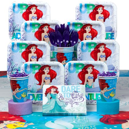 Little Mermaid Birthday Supplies Party Deluxe Tableware Kit (Serves 8) - The Little Mermaid Birthday