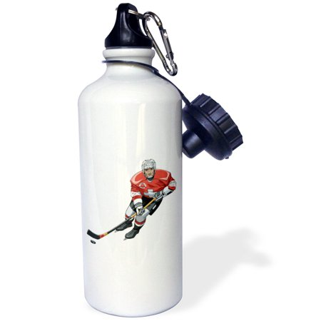 3dRose Hockey Player With Stick On white, Sports Water Bottle, 21oz