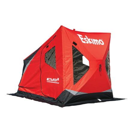 Eskimo 22100 EVO1 Portable Flip Style Ice Shelter with Pop Up Hub Sides, 1-Person Eskimo Ice Chisel