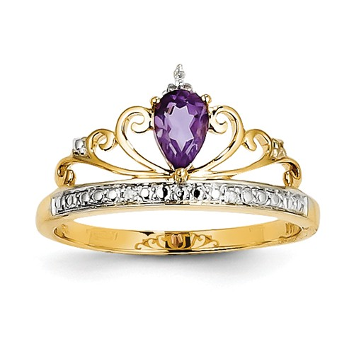 14k Yellow Gold & Rhodium Diamond & Pear Amethyst Gemstone Ring 0.33ct by Amethyst Rings