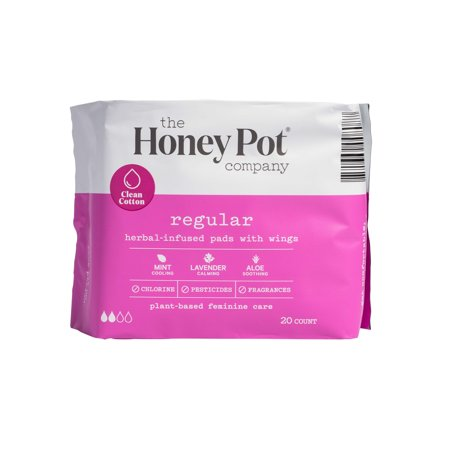 Regular Herbal Menstrual Pads With Wings, 20 Count by The Honey Pot Company Llc