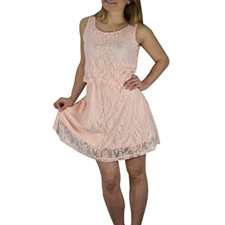 Peach Couture Lace Overlay Sleeveless Mini Solid Color Summer - Lace Overlay