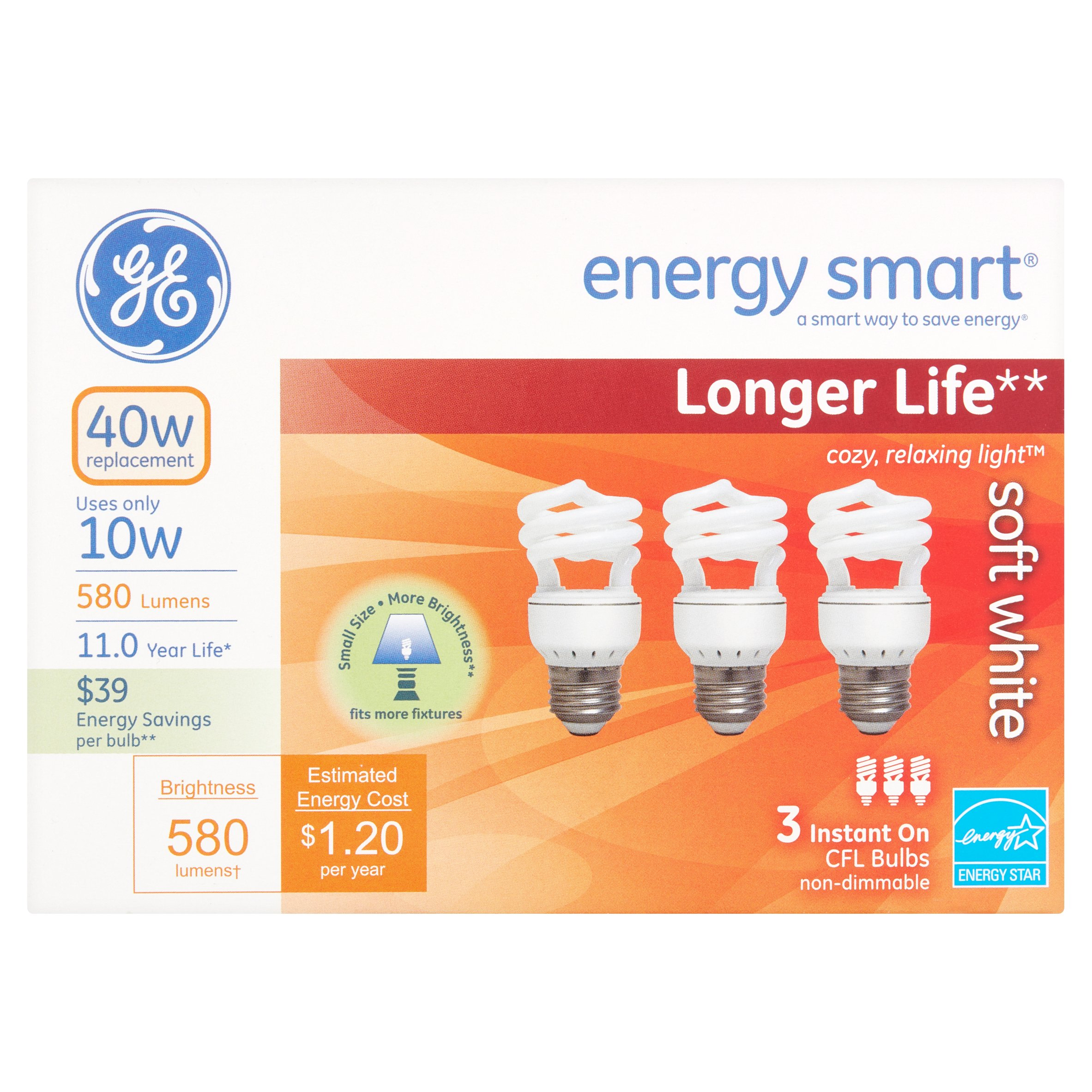 GE Energy Smart 10W 580 Lumens Soft White Instant On CFL Bulbs, 3 count
