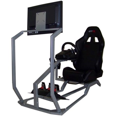 GTR Simulator GT-S-S104LBK with Real Racing Seat, Driving Simulator Cockpit with Gear Shifter Mount and Single Monitor