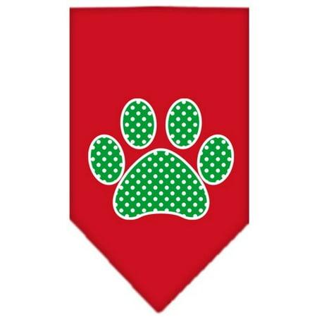 - Green Swiss Dot Paw Screen Print Bandana Red Small