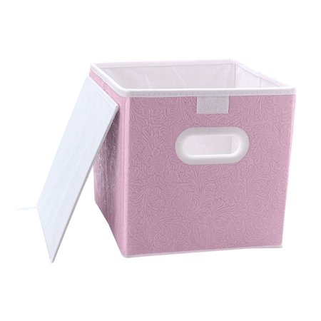 - Small Storage Bin Cube Toy Box Organizer with Handles for Closet Shelf Pink