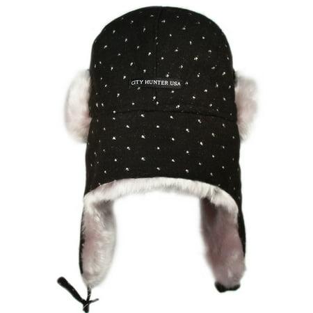 d7d451121a6 City Hunter W490 Premium Dot Bomber Trapper Hat (Black white) - Walmart.com