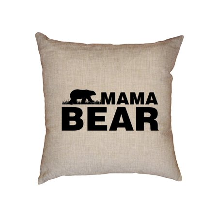 Mama Bear - Mom Vintage Proud Mother Decorative Linen Throw Cushion Pillow Case with Insert