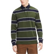 Tommy Hilfiger Mens Striped Rugby Polo Shirt, green, Large