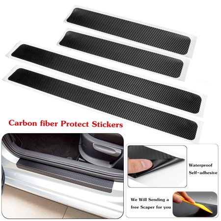 4pcs Accessories Carbon Fiber Car Scuff Plate Door Sill 4D Car Sticker Sticker Panel Protect