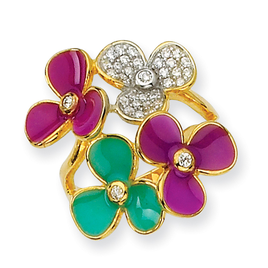 Sterling Silver CZ Enamel and Gold-Plated Flower Ring
