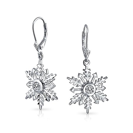 CZ Solitaire Round Snowflake Drop Earrings Sterling