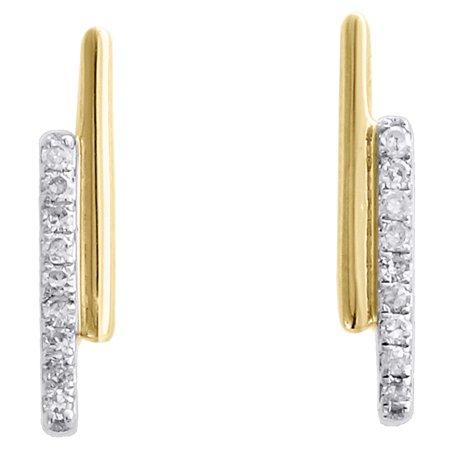 10K Yellow Gold Round Diamond Double Bar Stud Ladies Screw Back Earrings 1/12 - Mrs Earrings