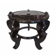 """10.5"""" Oriental Style High Curly Legged Wooden Fishbowl Flower Stand"""
