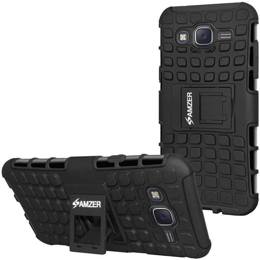 Amzer Impact-Resistant Hybrid Warrior Case for Samsung Galaxy J5 SM-J500F, Black