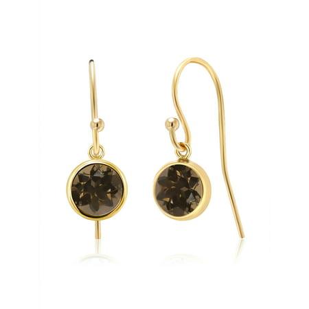1.60 Ct Round Brown Smoky Quartz 14K Gold Filled Earrings Smoky Quartz Chandelier Earrings
