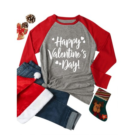 e0b46fe35da8 DBoard - DBoard Womens Valentine Day Shirts Letter Print Long Sleeve Tops  Blouse - Walmart.com