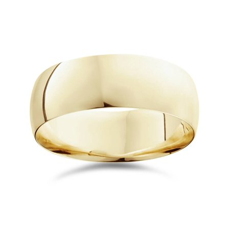 High Polished Dome - 8mm Dome High Polished Wedding Band 10K Yellow Gold
